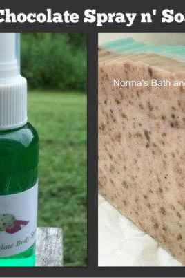 mint chocolate body spray and goats milk glycerin soap set