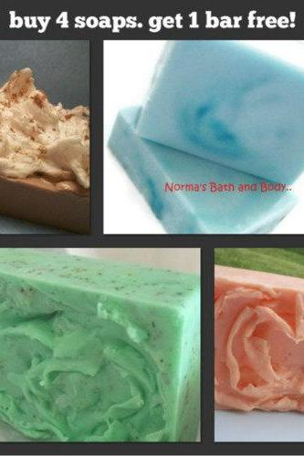 buy four goats milk glycerin soaps. get one bar free