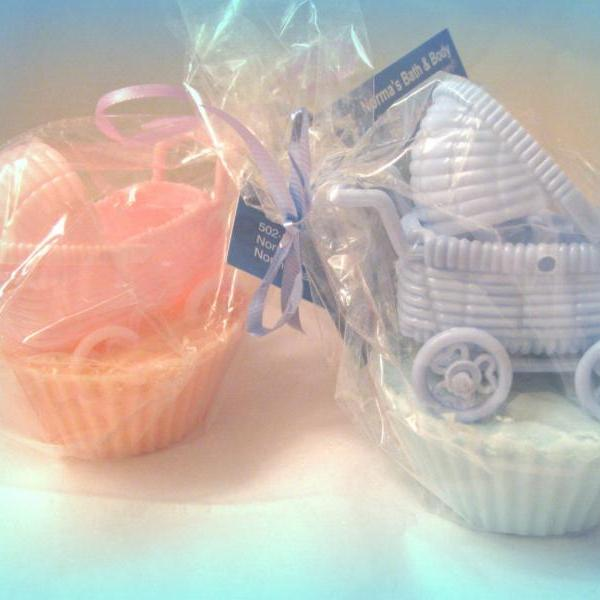 Baby carriage cupcake party soap