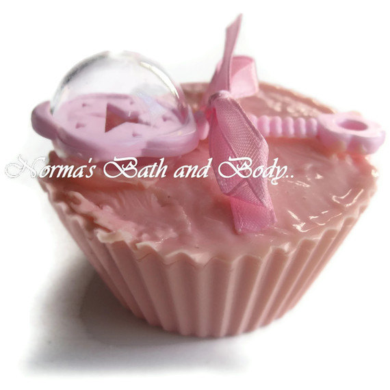 baby girl rattle cupcake glycerin soap
